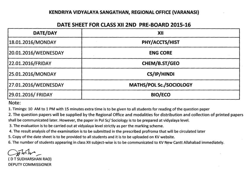 Date sheet of 2nd Pre Board Exams class XII