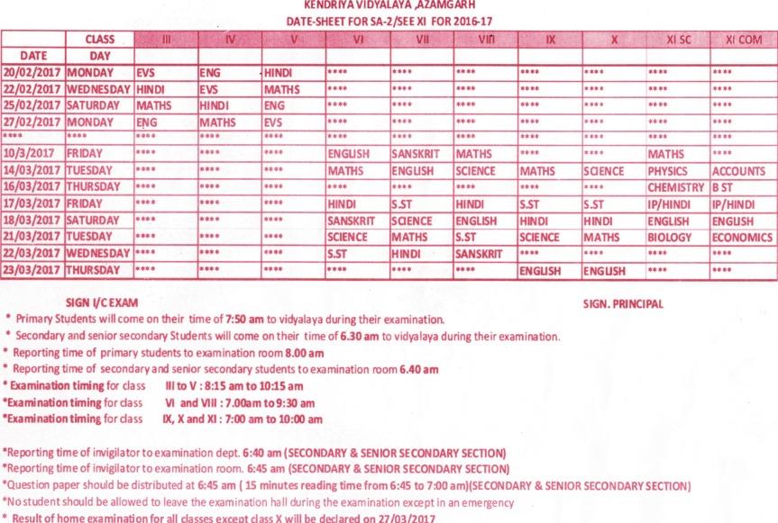 date-sheet